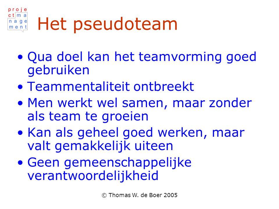 © Thomas W. de Boer 2005 Het pseudoteam Qua doel kan het teamvorming goed gebruiken Teammentaliteit ontbreekt Men werkt wel samen, maar zonder als tea
