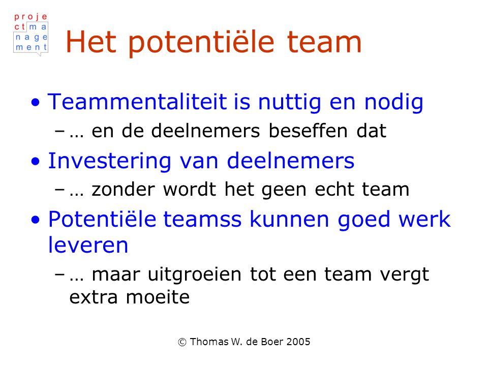 © Thomas W. de Boer 2005 Het potentiële team Teammentaliteit is nuttig en nodig –… en de deelnemers beseffen dat Investering van deelnemers –… zonder
