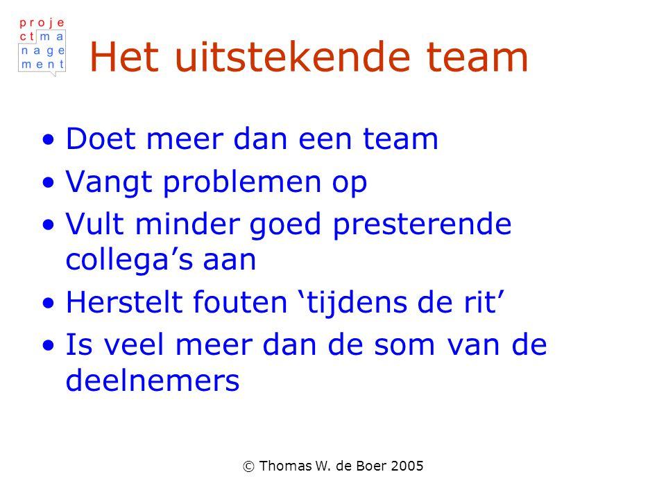 © Thomas W. de Boer 2005 Het uitstekende team Doet meer dan een team Vangt problemen op Vult minder goed presterende collega's aan Herstelt fouten 'ti