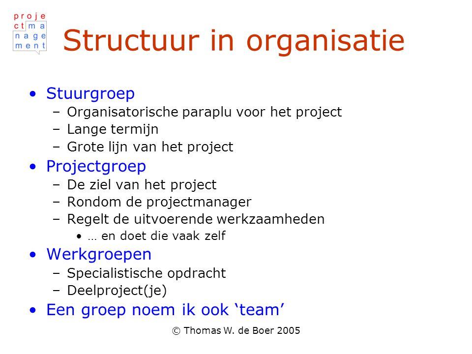 © Thomas W. de Boer 2005 Structuur in organisatie Stuurgroep –Organisatorische paraplu voor het project –Lange termijn –Grote lijn van het project Pro