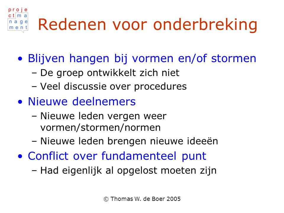 © Thomas W. de Boer 2005 Redenen voor onderbreking Blijven hangen bij vormen en/of stormen –De groep ontwikkelt zich niet –Veel discussie over procedu