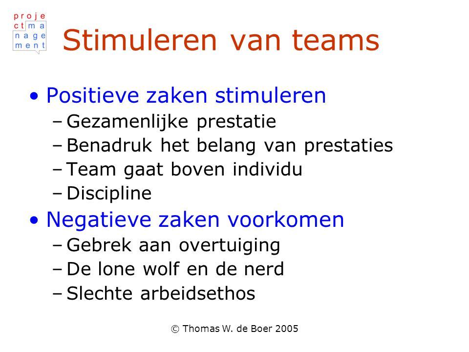 © Thomas W. de Boer 2005 Stimuleren van teams Positieve zaken stimuleren –Gezamenlijke prestatie –Benadruk het belang van prestaties –Team gaat boven