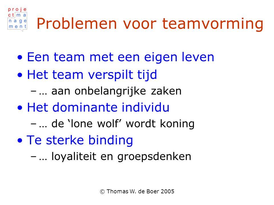 © Thomas W. de Boer 2005 Problemen voor teamvorming Een team met een eigen leven Het team verspilt tijd –… aan onbelangrijke zaken Het dominante indiv