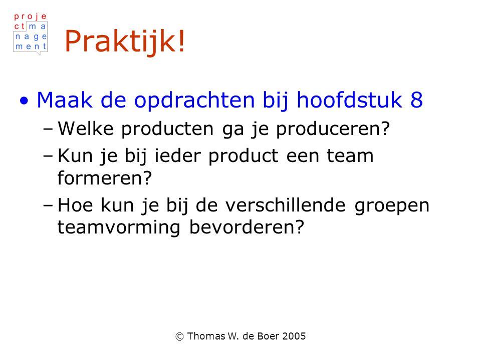 © Thomas W. de Boer 2005 Praktijk! Maak de opdrachten bij hoofdstuk 8 –Welke producten ga je produceren? –Kun je bij ieder product een team formeren?