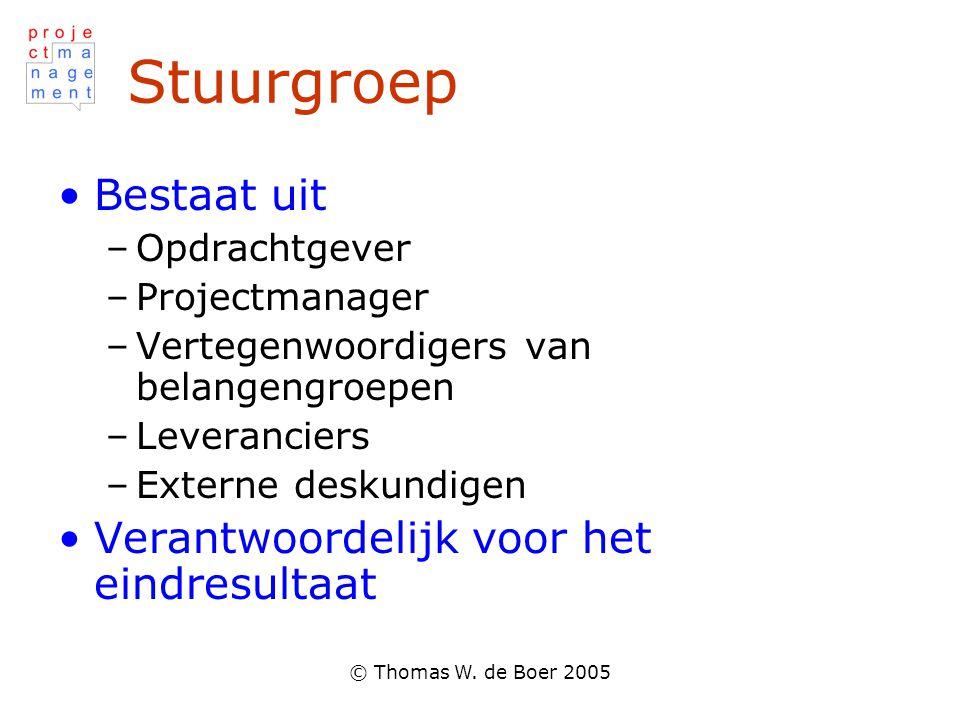 © Thomas W. de Boer 2005 Stuurgroep Bestaat uit –Opdrachtgever –Projectmanager –Vertegenwoordigers van belangengroepen –Leveranciers –Externe deskundi