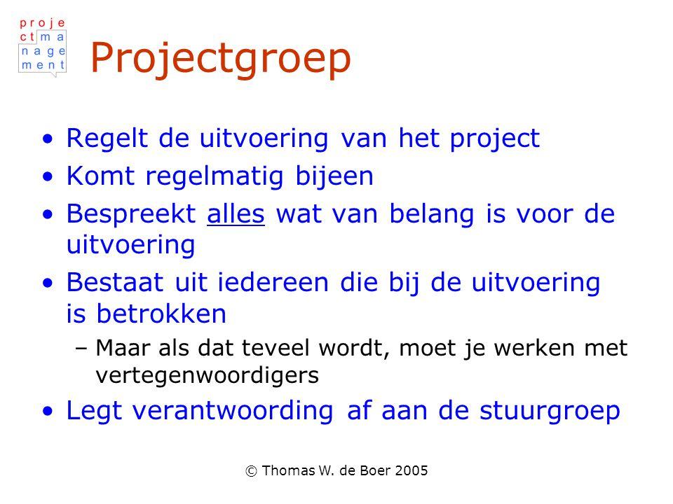 © Thomas W. de Boer 2005 Projectgroep Regelt de uitvoering van het project Komt regelmatig bijeen Bespreekt alles wat van belang is voor de uitvoering