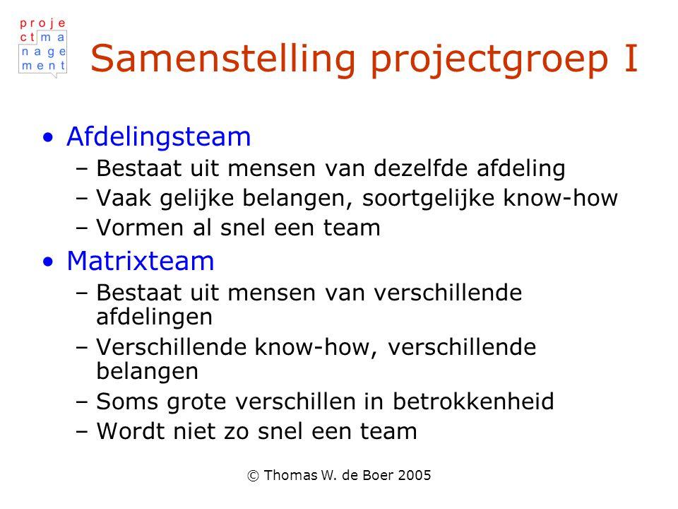 © Thomas W. de Boer 2005 Samenstelling projectgroep I Afdelingsteam –Bestaat uit mensen van dezelfde afdeling –Vaak gelijke belangen, soortgelijke kno