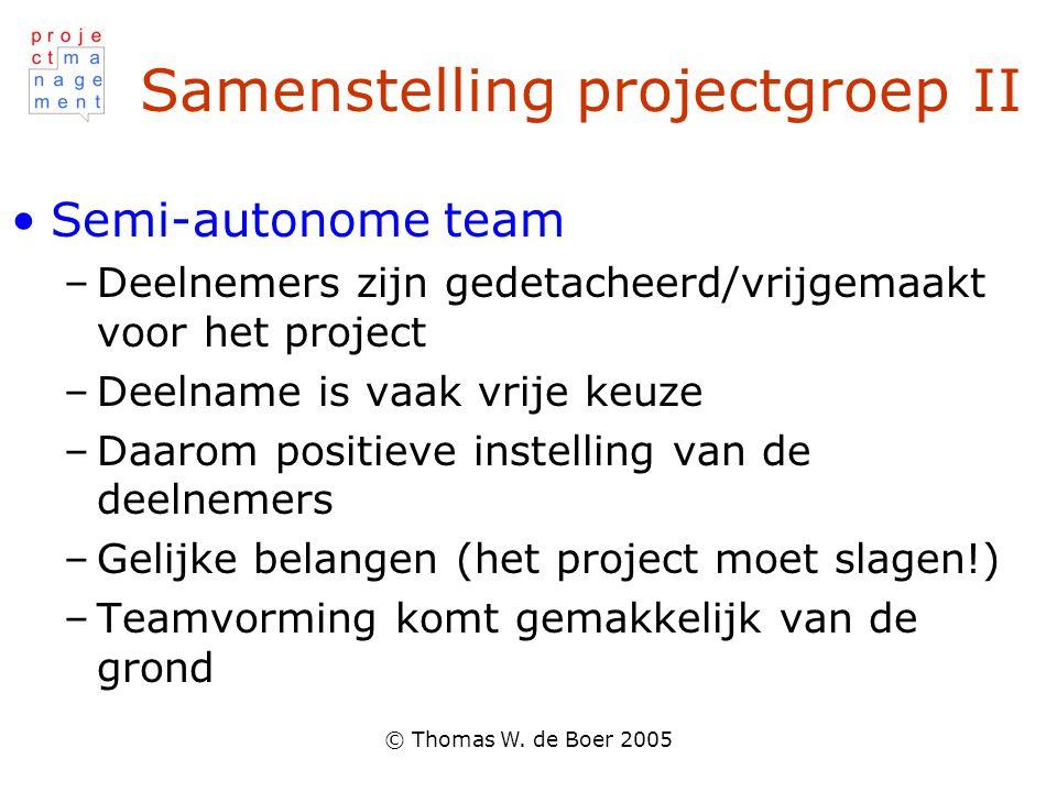 © Thomas W. de Boer 2005 Samenstelling projectgroep II Semi-autonome team –Deelnemers zijn gedetacheerd/vrijgemaakt voor het project –Deelname is vaak