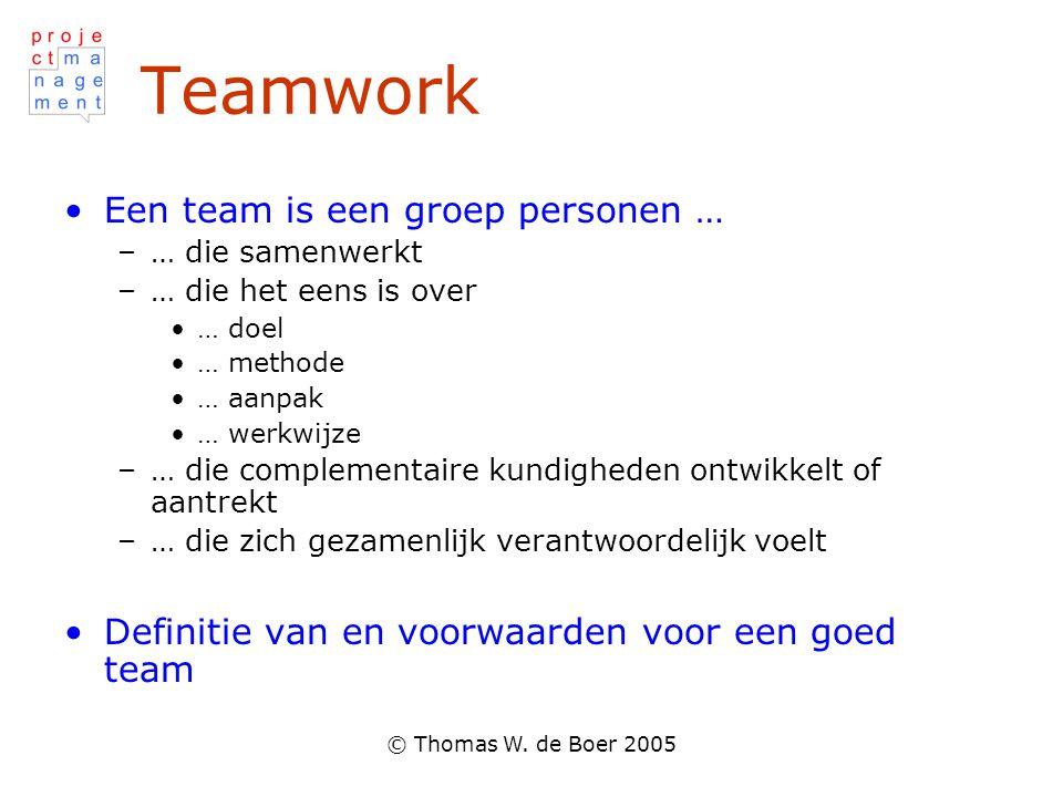 © Thomas W. de Boer 2005 Teamwork Een team is een groep personen … –… die samenwerkt –… die het eens is over … doel … methode … aanpak … werkwijze –…