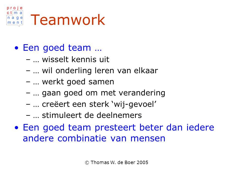 © Thomas W. de Boer 2005 Teamwork Een goed team … –… wisselt kennis uit –… wil onderling leren van elkaar –… werkt goed samen –… gaan goed om met vera