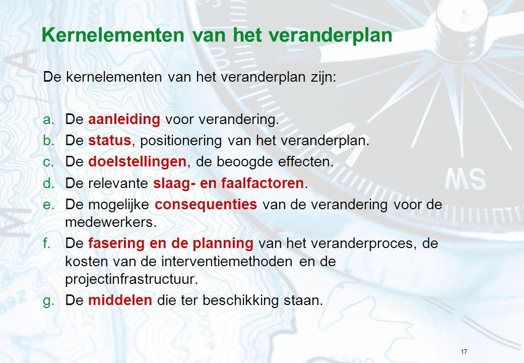 17 Kernelementen van het veranderplan De kernelementen van het veranderplan zijn: a.De aanleiding voor verandering. b.De status, positionering van het