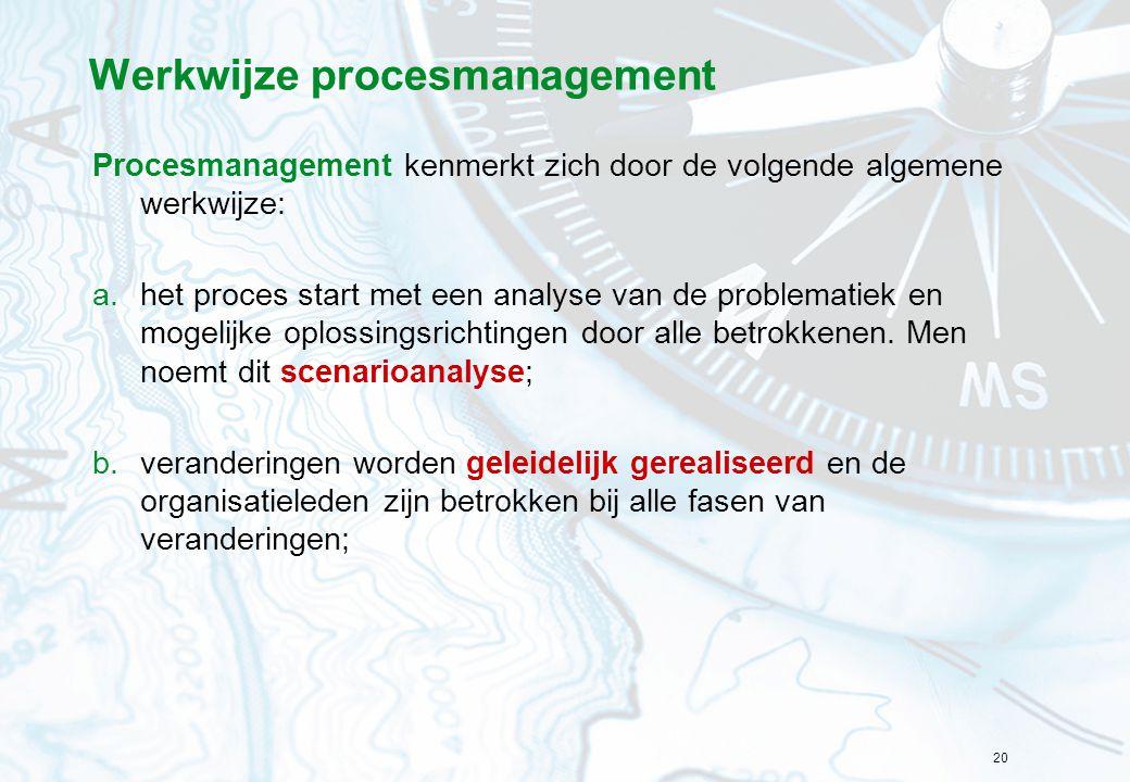 20 Werkwijze procesmanagement Procesmanagement kenmerkt zich door de volgende algemene werkwijze: a.het proces start met een analyse van de problemati
