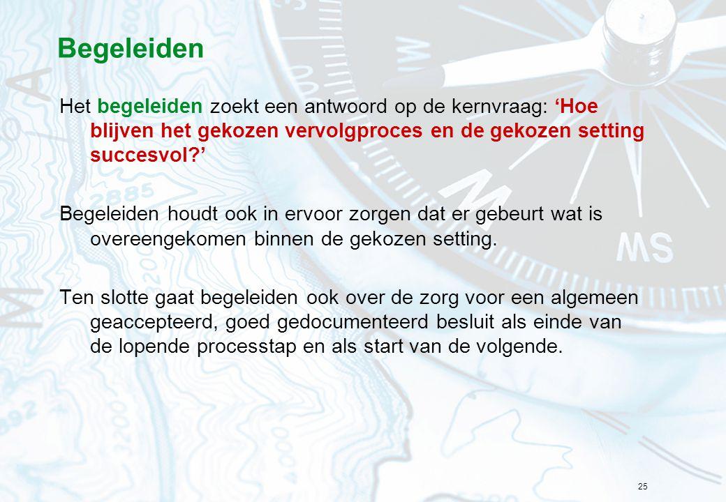 25 Begeleiden Het begeleiden zoekt een antwoord op de kernvraag: 'Hoe blijven het gekozen vervolgproces en de gekozen setting succesvol?' Begeleiden h