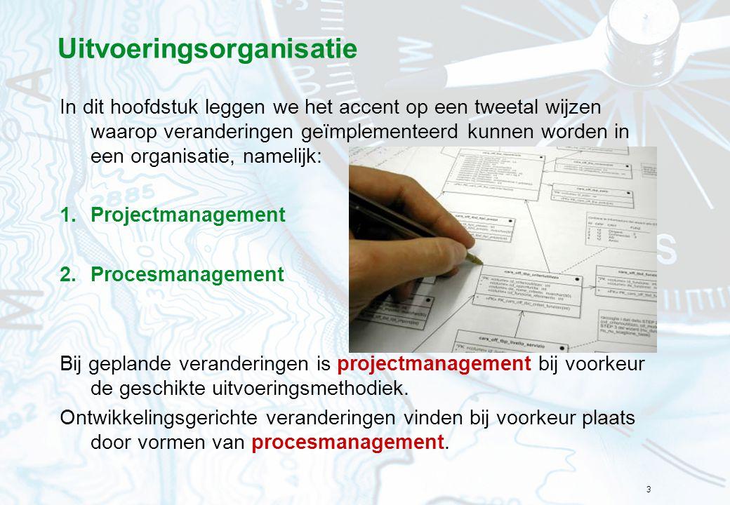 3 Uitvoeringsorganisatie In dit hoofdstuk leggen we het accent op een tweetal wijzen waarop veranderingen geïmplementeerd kunnen worden in een organis