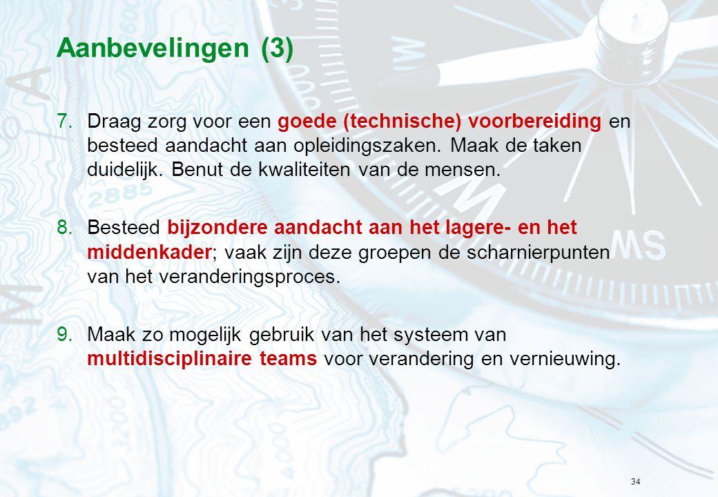 34 Aanbevelingen (3) 7.Draag zorg voor een goede (technische) voorbereiding en besteed aandacht aan opleidingszaken. Maak de taken duidelijk. Benut de