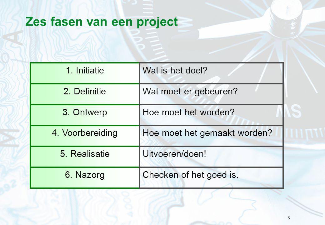 5 Zes fasen van een project 1. Initiatie 2. Definitie 3. Ontwerp 4. Voorbereiding 5. Realisatie 6. Nazorg Wat is het doel? Wat moet er gebeuren? Hoe m