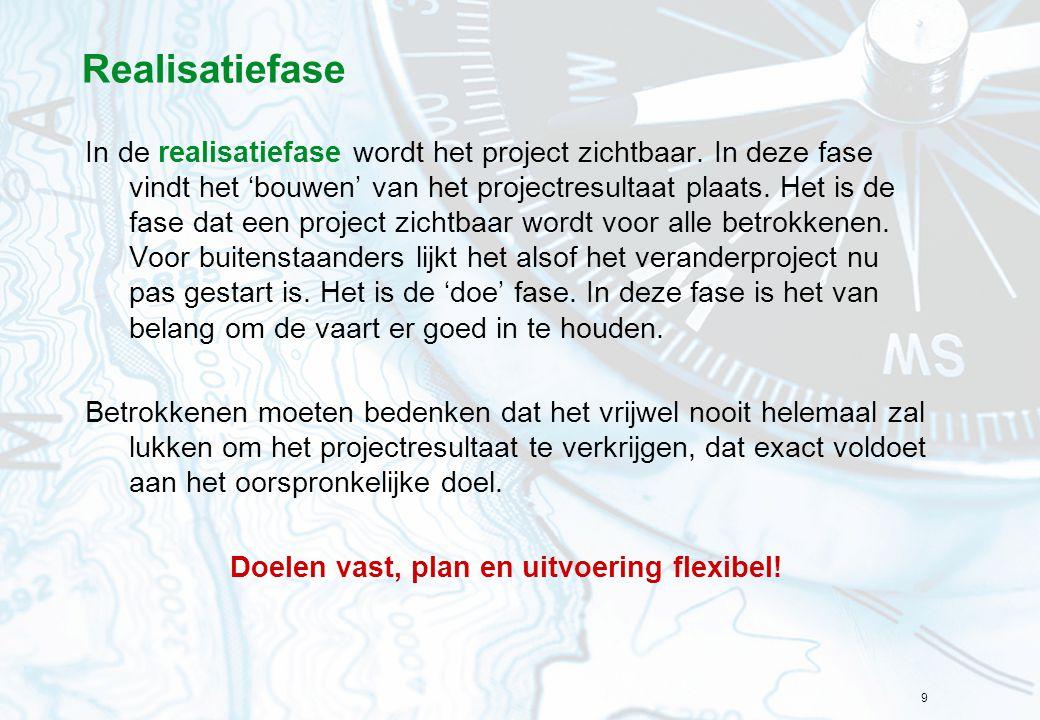 9 Realisatiefase In de realisatiefase wordt het project zichtbaar. In deze fase vindt het 'bouwen' van het projectresultaat plaats. Het is de fase dat