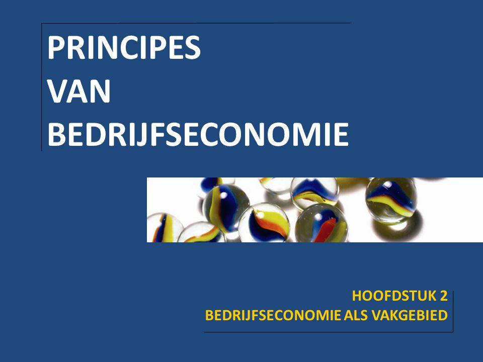PRINCIPES VAN BEDRIJFSECONOMIE HOOFDSTUK 2 BEDRIJFSECONOMIE ALS VAKGEBIED
