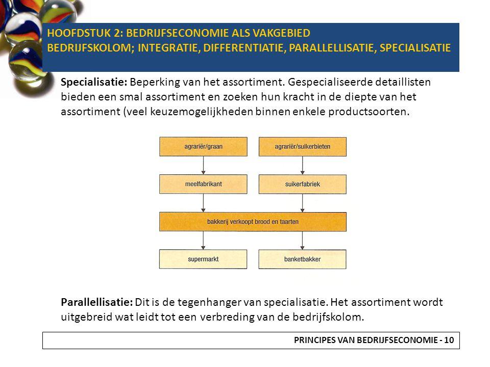 Specialisatie: Beperking van het assortiment. Gespecialiseerde detaillisten bieden een smal assortiment en zoeken hun kracht in de diepte van het asso