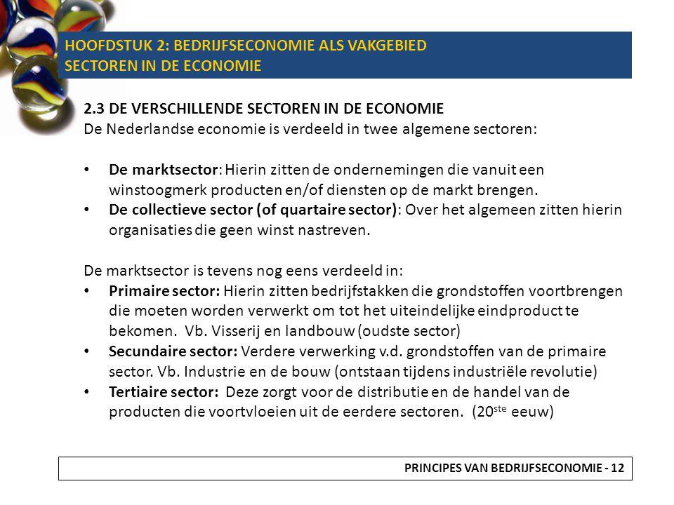 HOOFDSTUK 2: BEDRIJFSECONOMIE ALS VAKGEBIED SECTOREN IN DE ECONOMIE 2.3DE VERSCHILLENDE SECTOREN IN DE ECONOMIE De Nederlandse economie is verdeeld in
