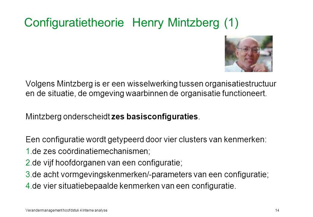 Verandermanagement hoofdstuk 4 Interne analyse14 Configuratietheorie Henry Mintzberg (1) Volgens Mintzberg is er een wisselwerking tussen organisatiestructuur en de situatie, de omgeving waarbinnen de organisatie functioneert.