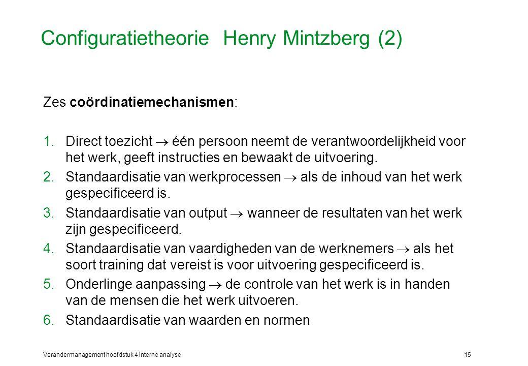 Verandermanagement hoofdstuk 4 Interne analyse15 Configuratietheorie Henry Mintzberg (2) Zes coördinatiemechanismen: 1.Direct toezicht  één persoon neemt de verantwoordelijkheid voor het werk, geeft instructies en bewaakt de uitvoering.