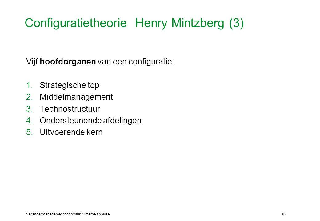 Verandermanagement hoofdstuk 4 Interne analyse16 Configuratietheorie Henry Mintzberg (3) Vijf hoofdorganen van een configuratie: 1.Strategische top 2.Middelmanagement 3.Technostructuur 4.Ondersteunende afdelingen 5.Uitvoerende kern