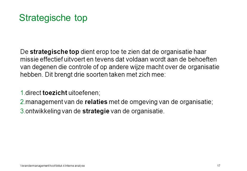Verandermanagement hoofdstuk 4 Interne analyse17 Strategische top De strategische top dient erop toe te zien dat de organisatie haar missie effectief uitvoert en tevens dat voldaan wordt aan de behoeften van degenen die controle of op andere wijze macht over de organisatie hebben.