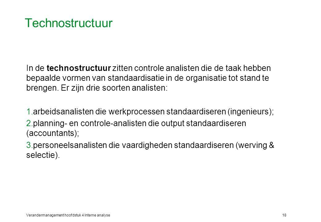 Verandermanagement hoofdstuk 4 Interne analyse18 Technostructuur In de technostructuur zitten controle analisten die de taak hebben bepaalde vormen van standaardisatie in de organisatie tot stand te brengen.