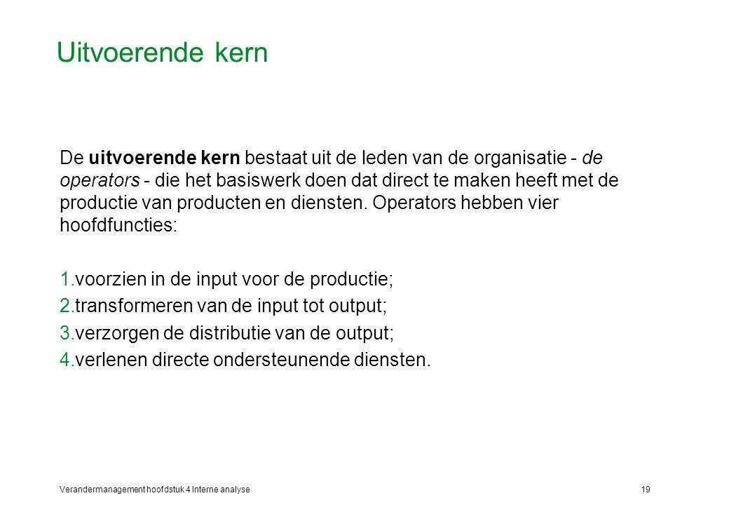 Verandermanagement hoofdstuk 4 Interne analyse19 Uitvoerende kern De uitvoerende kern bestaat uit de leden van de organisatie - de operators - die het basiswerk doen dat direct te maken heeft met de productie van producten en diensten.