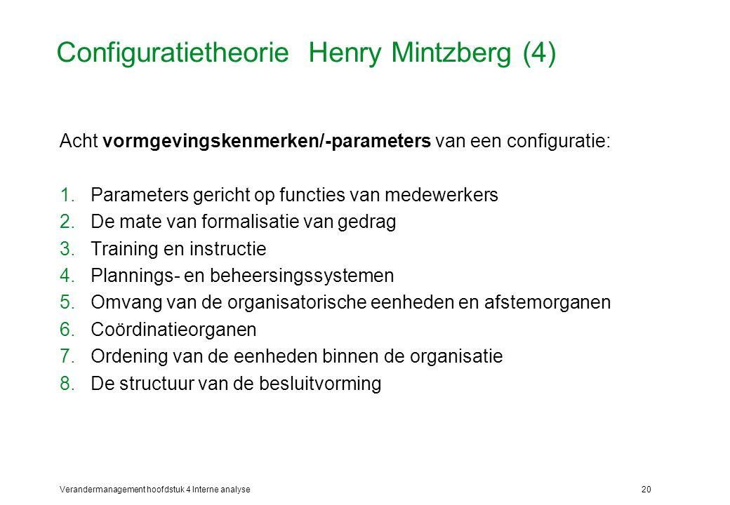 Verandermanagement hoofdstuk 4 Interne analyse20 Configuratietheorie Henry Mintzberg (4) Acht vormgevingskenmerken/-parameters van een configuratie: 1.Parameters gericht op functies van medewerkers 2.De mate van formalisatie van gedrag 3.Training en instructie 4.Plannings- en beheersingssystemen 5.Omvang van de organisatorische eenheden en afstemorganen 6.Coördinatieorganen 7.Ordening van de eenheden binnen de organisatie 8.De structuur van de besluitvorming