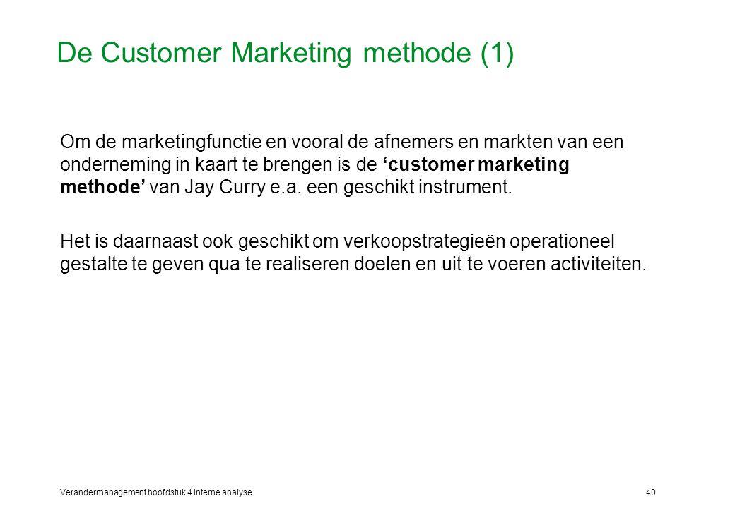 Verandermanagement hoofdstuk 4 Interne analyse40 De Customer Marketing methode (1) Om de marketingfunctie en vooral de afnemers en markten van een onderneming in kaart te brengen is de 'customer marketing methode' van Jay Curry e.a.