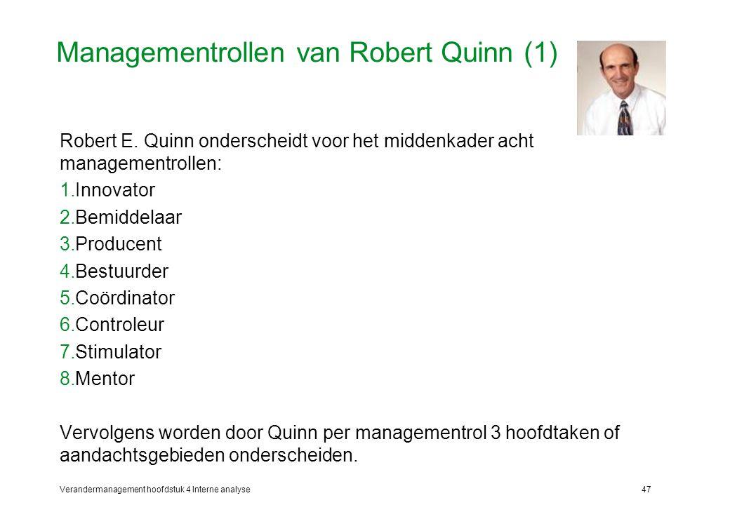 Verandermanagement hoofdstuk 4 Interne analyse47 Managementrollen van Robert Quinn (1) Robert E.