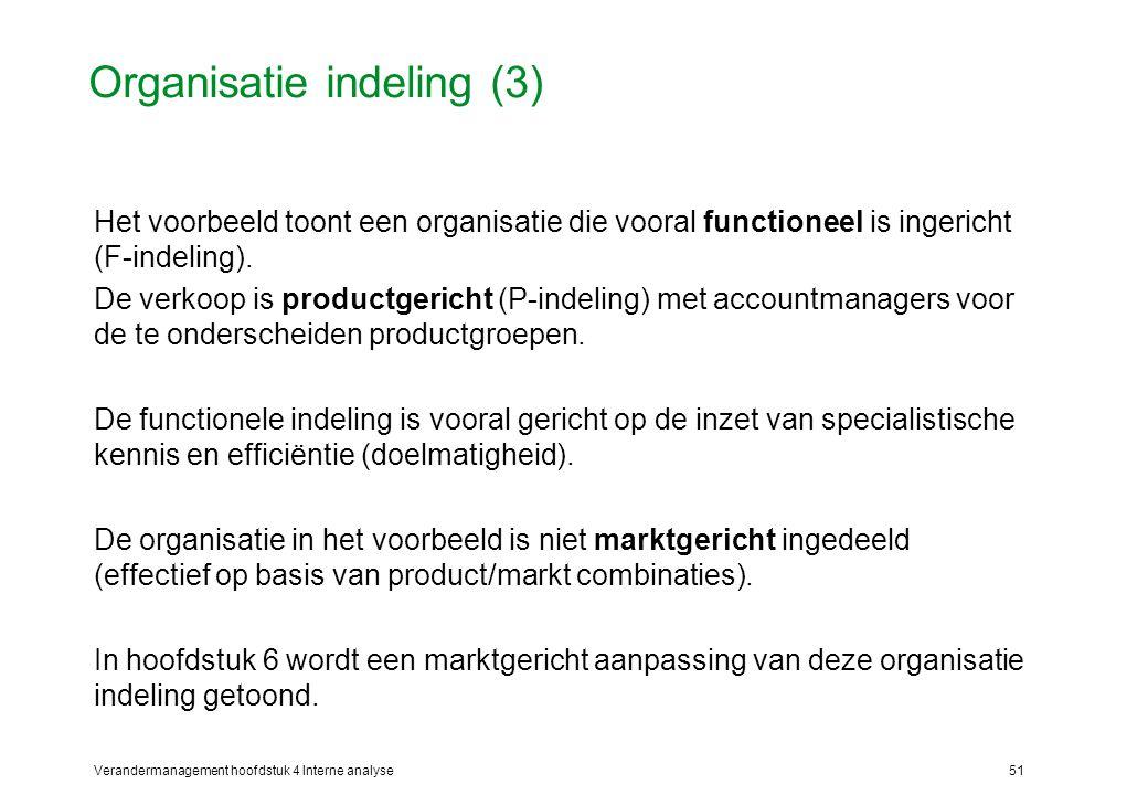 Verandermanagement hoofdstuk 4 Interne analyse51 Organisatie indeling (3) Het voorbeeld toont een organisatie die vooral functioneel is ingericht (F-indeling).