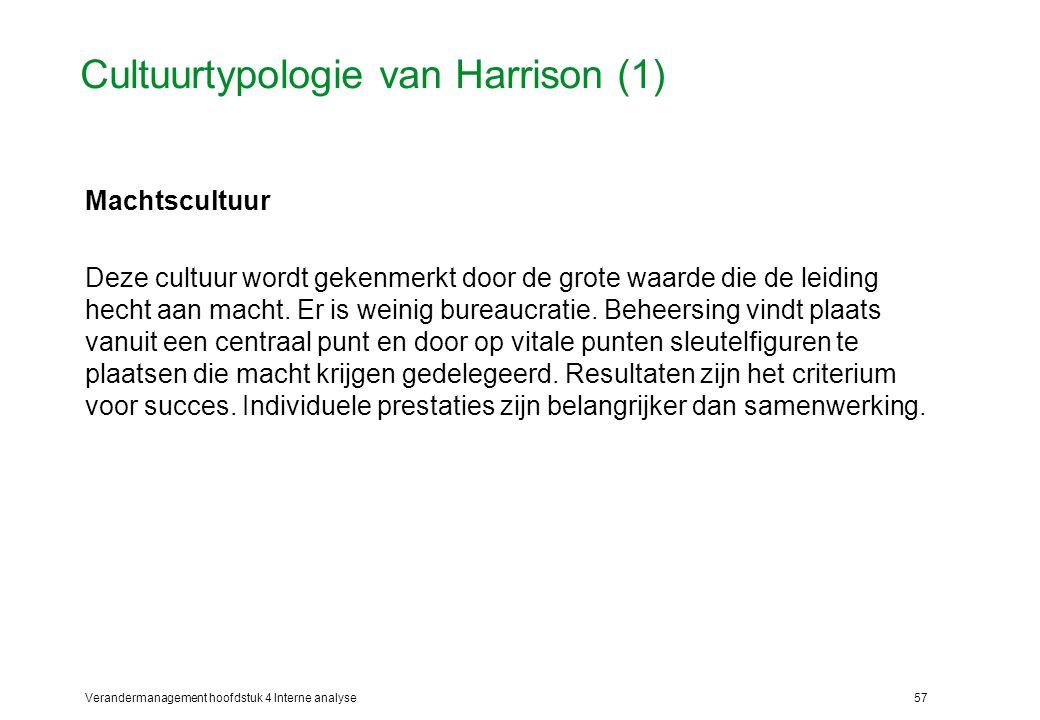Verandermanagement hoofdstuk 4 Interne analyse57 Cultuurtypologie van Harrison (1) Machtscultuur Deze cultuur wordt gekenmerkt door de grote waarde die de leiding hecht aan macht.