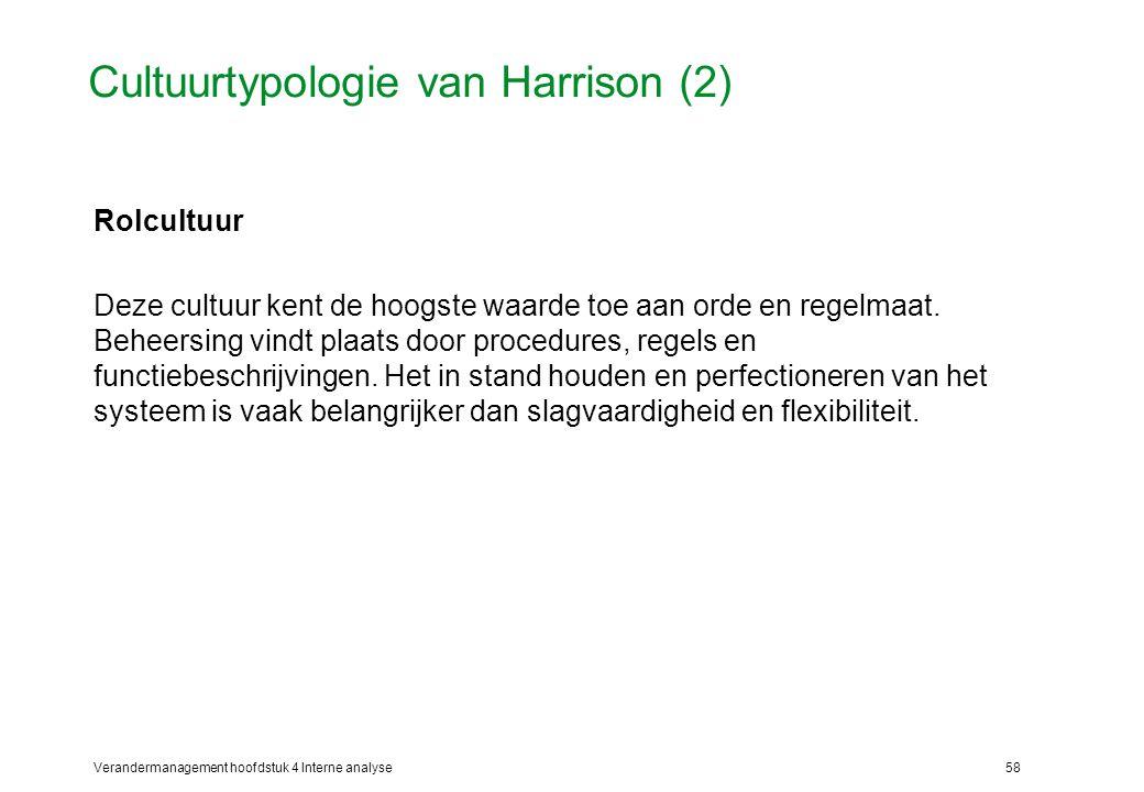 Verandermanagement hoofdstuk 4 Interne analyse58 Cultuurtypologie van Harrison (2) Rolcultuur Deze cultuur kent de hoogste waarde toe aan orde en regelmaat.