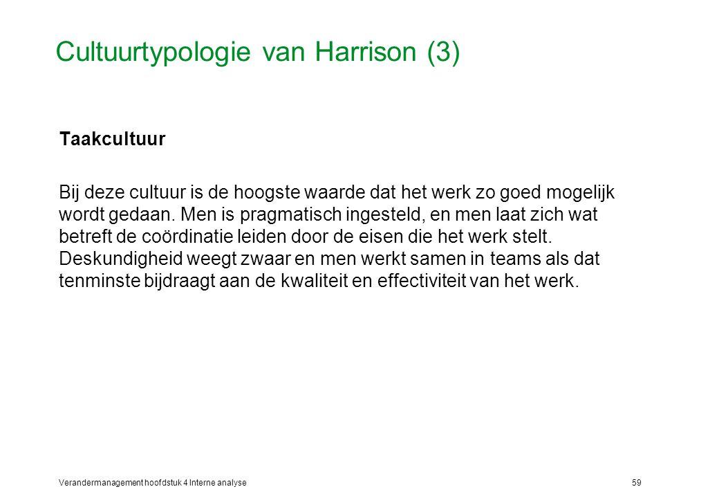 Verandermanagement hoofdstuk 4 Interne analyse59 Cultuurtypologie van Harrison (3) Taakcultuur Bij deze cultuur is de hoogste waarde dat het werk zo goed mogelijk wordt gedaan.