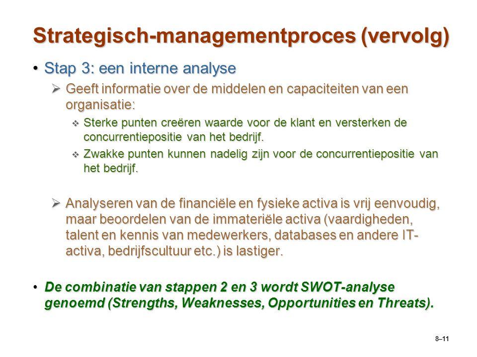 8–11 Strategisch-managementproces (vervolg) Stap 3: een interne analyseStap 3: een interne analyse  Geeft informatie over de middelen en capaciteiten