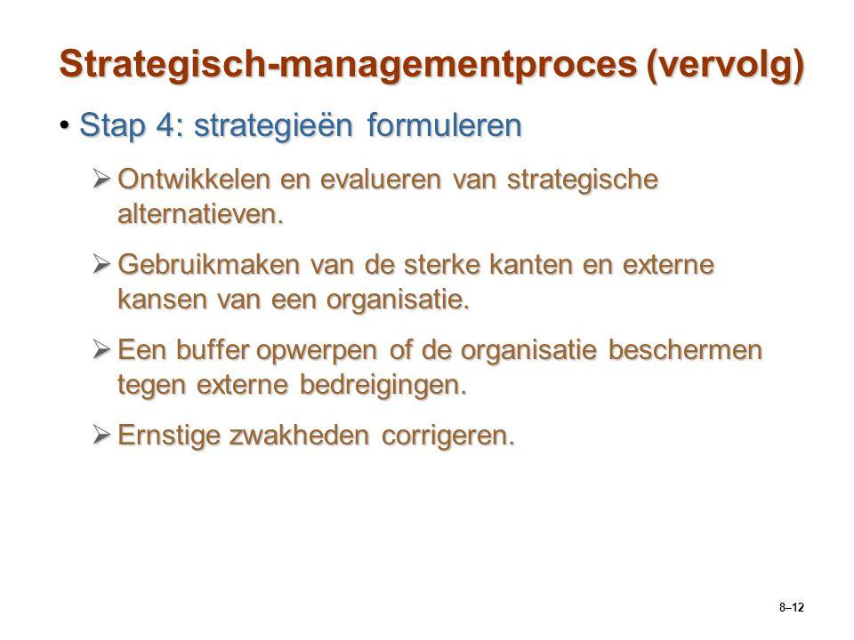 8–12 Strategisch-managementproces (vervolg) Stap 4: strategieën formulerenStap 4: strategieën formuleren  Ontwikkelen en evalueren van strategische a