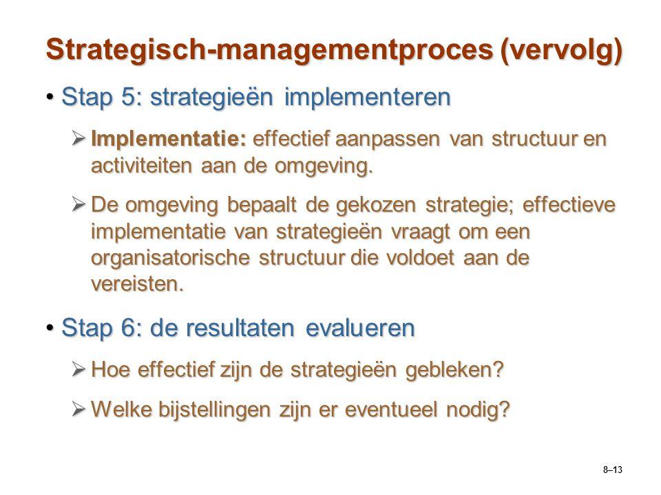 8–13 Strategisch-managementproces (vervolg) Stap 5: strategieën implementerenStap 5: strategieën implementeren  Implementatie: effectief aanpassen va