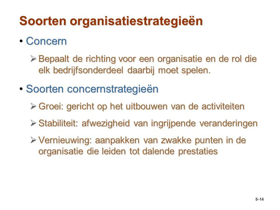 8–14 Soorten organisatiestrategieën ConcernConcern  Bepaalt de richting voor een organisatie en de rol die elk bedrijfsonderdeel daarbij moet spelen.