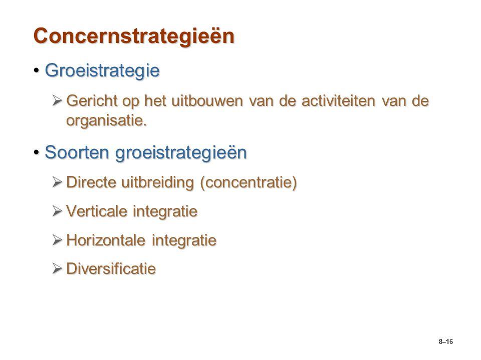 8–16 Concernstrategieën GroeistrategieGroeistrategie  Gericht op het uitbouwen van de activiteiten van de organisatie. Soorten groeistrategieënSoorte