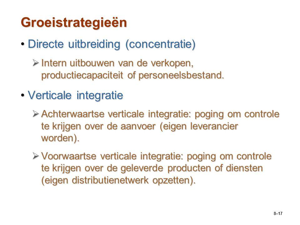 8–17 Groeistrategieën Directe uitbreiding (concentratie)Directe uitbreiding (concentratie)  Intern uitbouwen van de verkopen, productiecapaciteit of