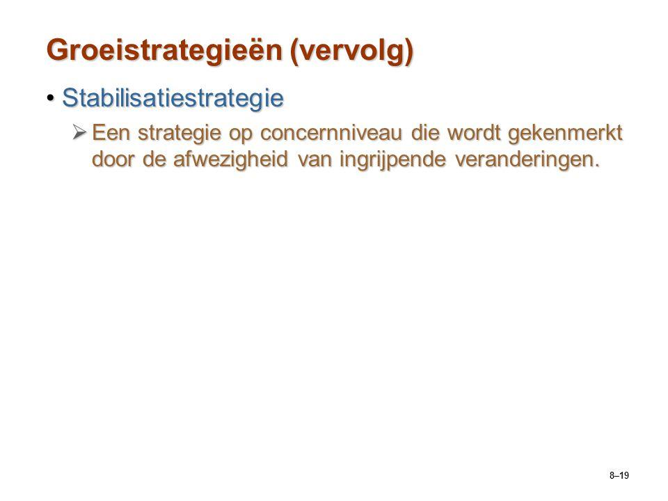 8–19 Groeistrategieën (vervolg) StabilisatiestrategieStabilisatiestrategie  Een strategie op concernniveau die wordt gekenmerkt door de afwezigheid v