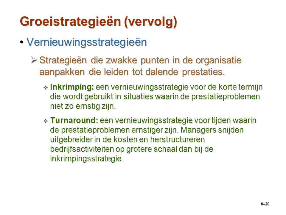 8–20 Groeistrategieën (vervolg) VernieuwingsstrategieënVernieuwingsstrategieën  Strategieën die zwakke punten in de organisatie aanpakken die leiden