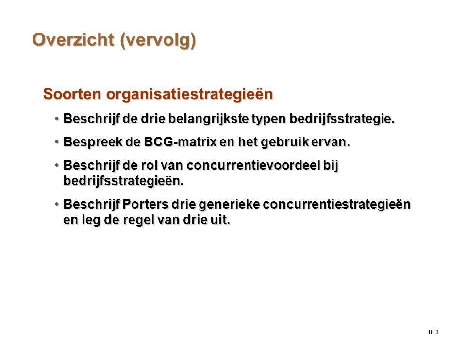 8–3 Overzicht (vervolg) Soorten organisatiestrategieën Beschrijf de drie belangrijkste typen bedrijfsstrategie.Beschrijf de drie belangrijkste typen b