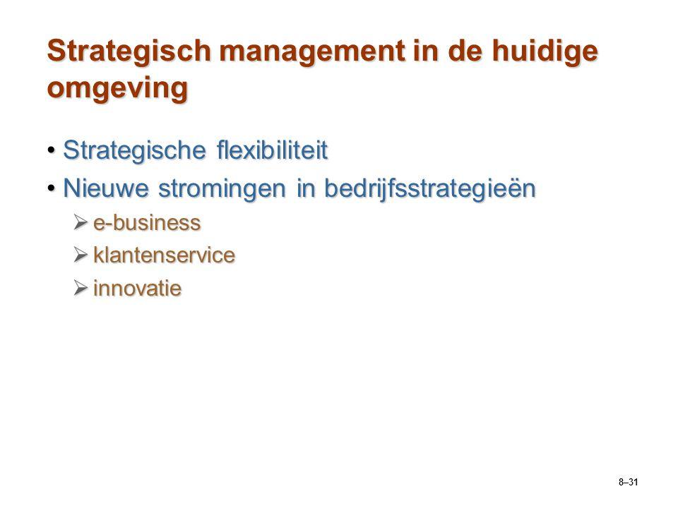 8–31 Strategisch management in de huidige omgeving Strategische flexibiliteitStrategische flexibiliteit Nieuwe stromingen in bedrijfsstrategieënNieuwe