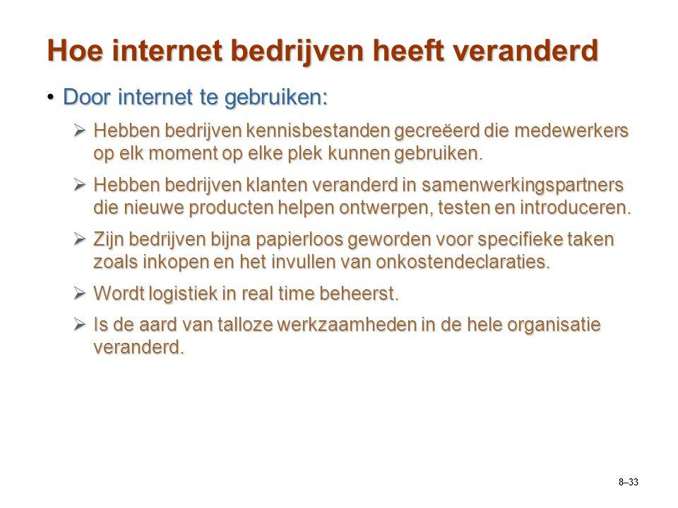 8–33 Hoe internet bedrijven heeft veranderd Door internet te gebruiken:Door internet te gebruiken:  Hebben bedrijven kennisbestanden gecreëerd die me