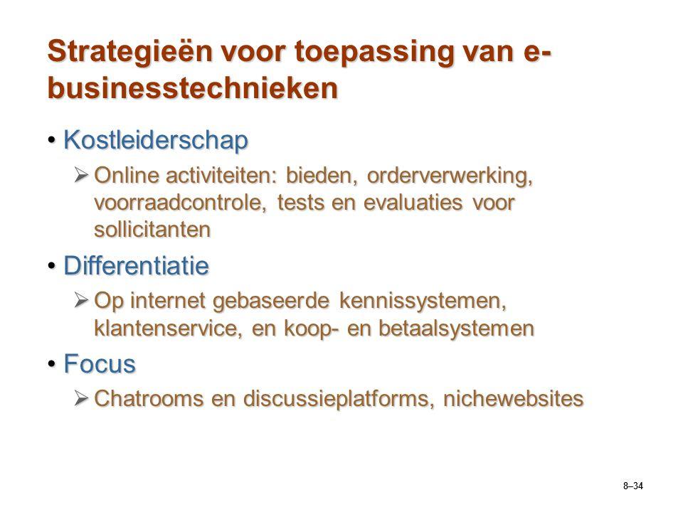 8–34 Strategieën voor toepassing van e- businesstechnieken KostleiderschapKostleiderschap  Online activiteiten: bieden, orderverwerking, voorraadcont