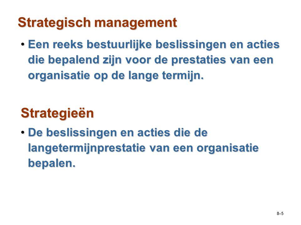 8–5 Strategisch management Een reeks bestuurlijke beslissingen en acties die bepalend zijn voor de prestaties van een organisatie op de lange termijn.